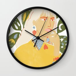Heart on her sleeve Wall Clock