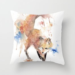 "Watercolor Painting of Picture ""Red Fox"" Throw Pillow"