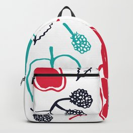 Apples and pears in blue and red Backpack