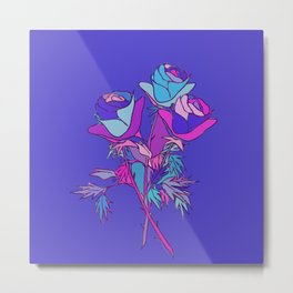 Three Roses Multicolor Abstract Metal Print