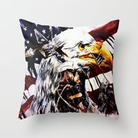 patriotic Throw Pillows featuring PATRIOTIC TIMES by PERRY DAEZIOUH