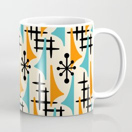 Mid Century Modern Atomic Wing Composition Orange & Blue Coffee Mug