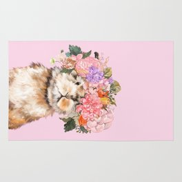 Rabbit with Flowers Crown Rug