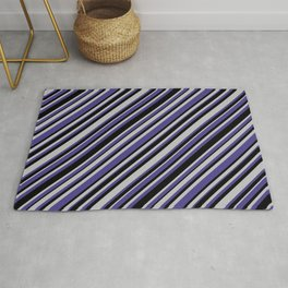 Grey, Dark Slate Blue, and Black Colored Lined/Striped Pattern Rug