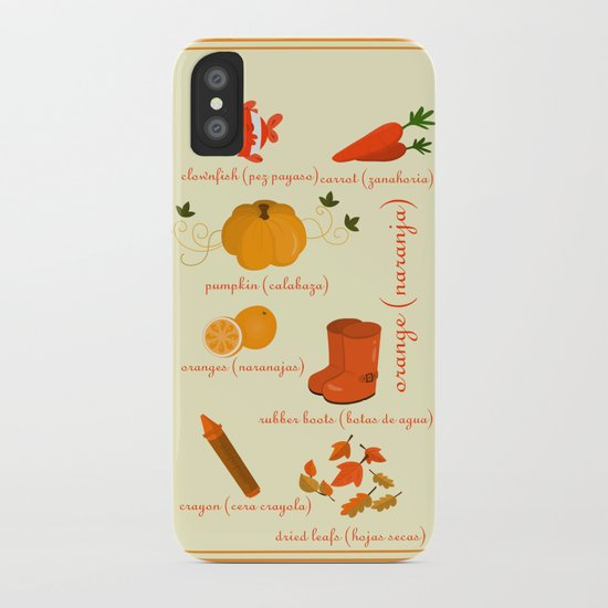 Colors: orange (Los colores: naranja) iPhone Case