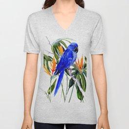 Hyacinth Macaw, Tropical colors foliage, jungle paradise flowers blue orange jungle colors Unisex V-Neck