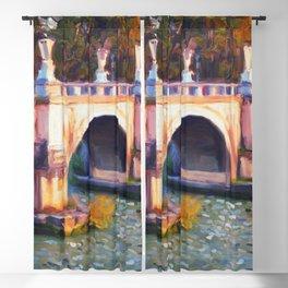 River Bridge Cityscape Impressionist Painting Decorative Blackout Curtain