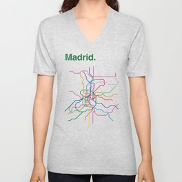 Madrid Transit Map Unisex V-Neck