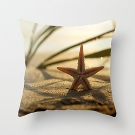 #Starfish #Still #life on the #summer #beach in #sunset Throw Pillow