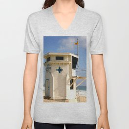 Laguna Beach Lifeguard Tower Unisex V-Neck