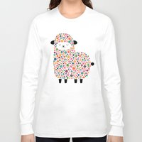 sheep Long Sleeve T-shirts featuring Bubble Sheep by Andy Westface