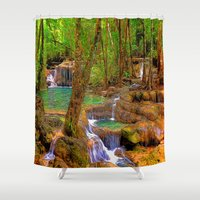 oregon Shower Curtains featuring Oregon Falls by Robin Curtiss