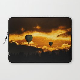 Exotic and magnificent afternoon at Sunset time and hot air balloon on dark and gold fuzzy sky Laptop Sleeve