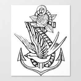 Anchor Swallow & Rose Old School Tattoo Style Canvas Print