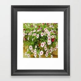 Inked Little Pink Flowers Framed Art Print