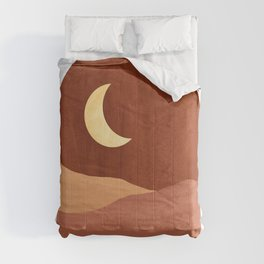 Terracotta night, abstract landscape, moon and desert Comforters