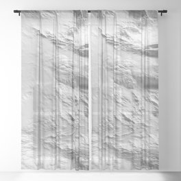 Moon Surface -Grey and White- Sheer Curtain