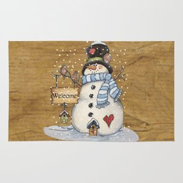 Folk Art Snowman Christmas Rug