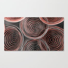 Black, white and red spiraled coils Canvas Print