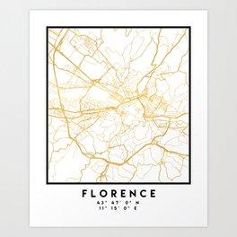 FLORENCE ITALY CITY STREET MAP ART Art Print