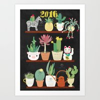 calender Art Prints featuring Cacti Calender 2016 by Darling Planet Earth