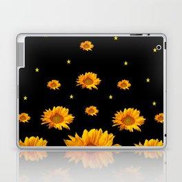 GOLDEN STARS YELLOW SUNFLOWERS  BLACK COLOR Laptop & iPad Skin