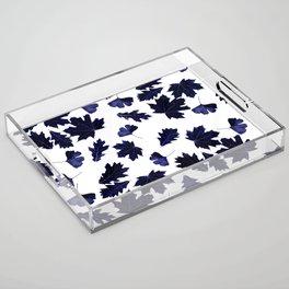 Indigo Blue Sun-Dyed Leaves Acrylic Tray