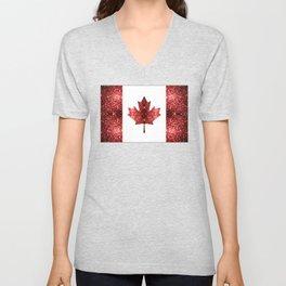 Canada flag red sparkles Unisex V-Neck