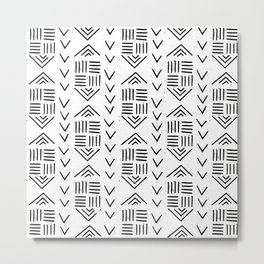 mudcloth 7 minimal textured black and white pattern home decor minimalist Metal Print