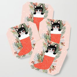 Cat on a sock. Holiday. Christmas Coaster
