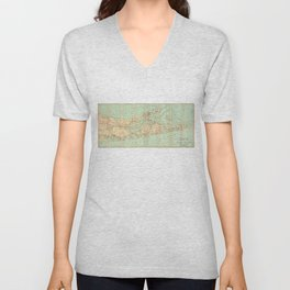 Vintage Road Map of Long Island (1905) Unisex V-Neck