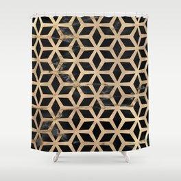 Pattern Formes Doré/Noir Shower Curtain