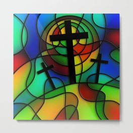 Calvary Stained Glass Window Metal Print