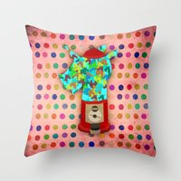 gumball Throw Pillows featuring Gumball Unicorns by That's So Unicorny