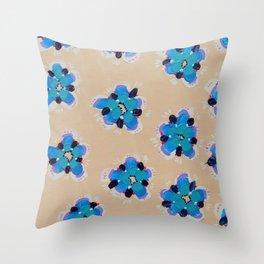 Blue Cactus Rose Throw Pillow