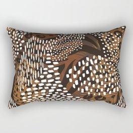 Abstract Tribal Floral White Rectangular Pillow