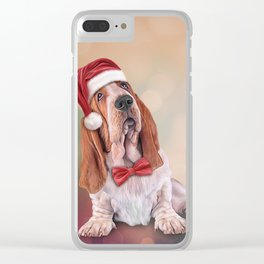 Drawing funny dog. Basset Hound in red hat of Santa Claus Clear iPhone Case