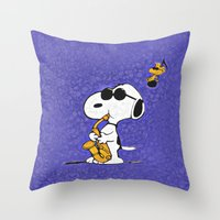 snoopy Throw Pillows featuring Snoopy by DisPrints