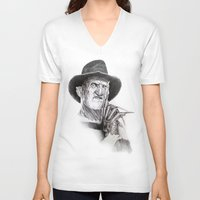 freddy krueger V-neck T-shirts featuring Freddy krueger nightmare on elm street by calibos