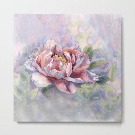 Pink Peonies Watercolor Flowers Peony Painting Floral art print Metal Print
