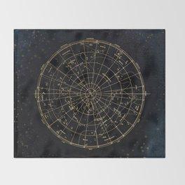Golden Star Map Throw Blanket