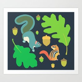 Gray Squirrel + Chipmunk + White Oak Art Print