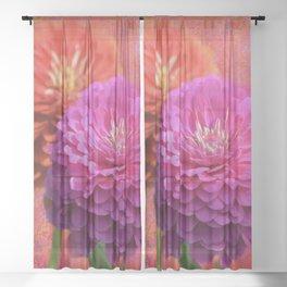 Zinnias in Bloom Sheer Curtain