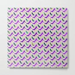 High Heels Purple glitter, marble and hearts Metal Print