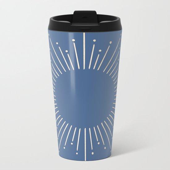 Simply Sunburst in Aegean Blue Metal Travel Mug