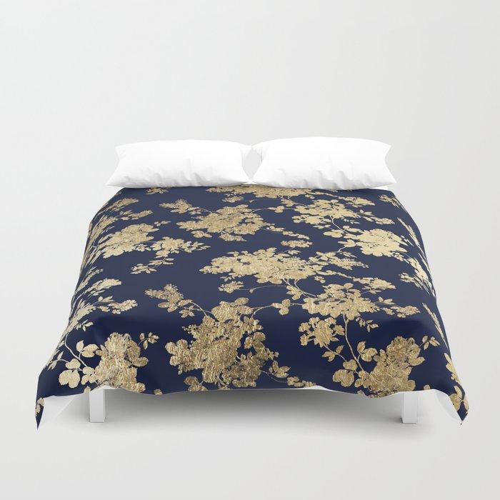 Elegant vintage navy blue faux gold flowers Bettbezug