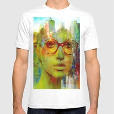 red glasses girl White MEDIUM Mens Fitted Tee