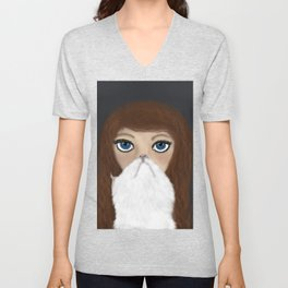 Curly Haired Crazy Cat Lady Unisex V-Neck