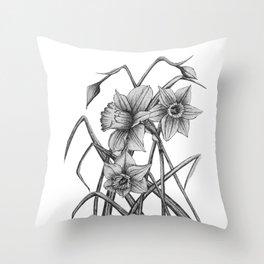 Daffodil Sketch Throw Pillow