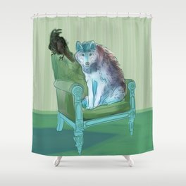 animals in chars #3 The Wolf and the Raven Shower Curtain